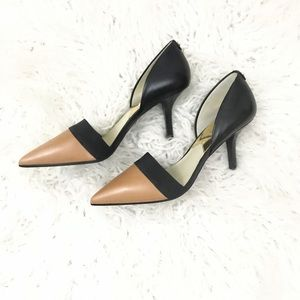 Michael Kors Leather Two Tone Heels Size 7.5 NWOB